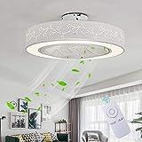 Ventilateur De Plafond Avec Lumière Ventilateur Créatif Invisible Avec Télécommande Gradable Ultra Silencieux Ventilateur LED...