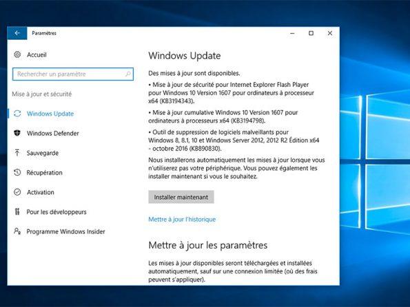 mise à jour windows 10